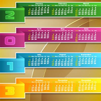 Calendario 2013 colorido