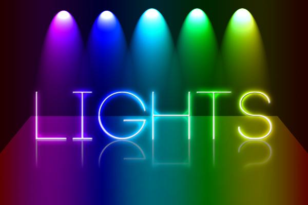 Luces de colores sobre texto