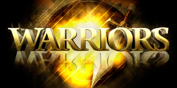 """Texto """"Warriors"""" en 3D con relieve"""