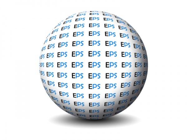 Esfera en 3D con texto repetido