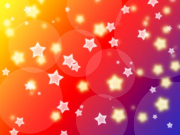 Fondo de colores y estrellas luminosas